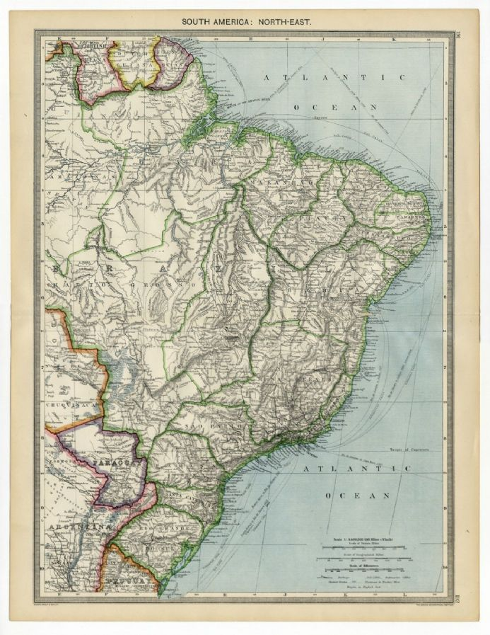1907 Antique Map SOUTH AMERICA NE Brazil MATTO GROSSO Santa Catharina PARAGUAY